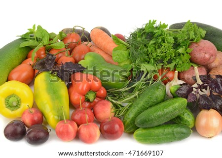 background of fruits and vegetables on a white background