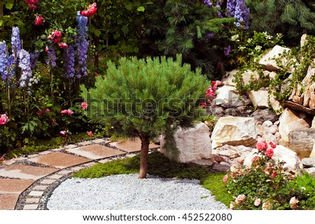Background of garden design. Landscaping in park with road, shorn trees and lawn - stock photo