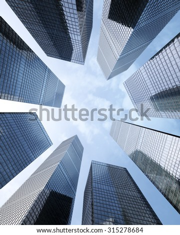 background of glass highrise building skyscraper, modern futuristic commercial city Business concept of successful industrial