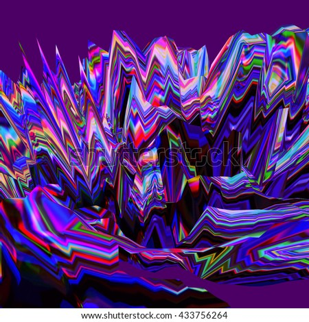 Background of glitch manipulations. Abstract colorful landscape with sharp peaks in the purple background. It can be used for web design and visualization of music. - stock photo
