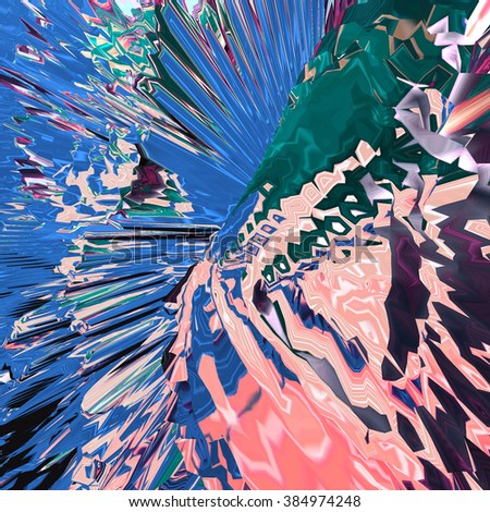 Background of glitch manipulations. Abstract flow of crystals consisting of brightest broken stripes in pink, blue and green shades. It can be used for web design and visualization of music - stock photo