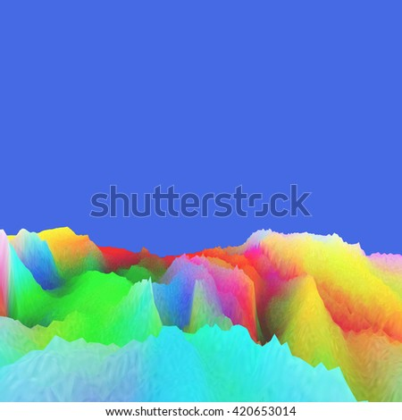 Background of glitch manipulations. Abstract landscape in neon colors on a blue background. it can be used for web design and visualization of music - stock photo