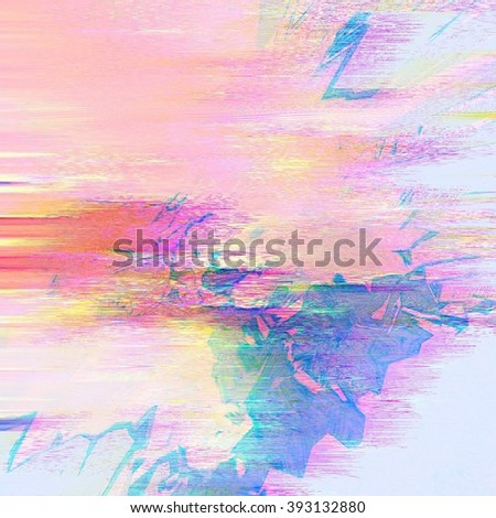 Background of glitch manipulations. Abstract shapes in pink and blue colors with image shift. It can be used for web design and visualization of music. - stock photo