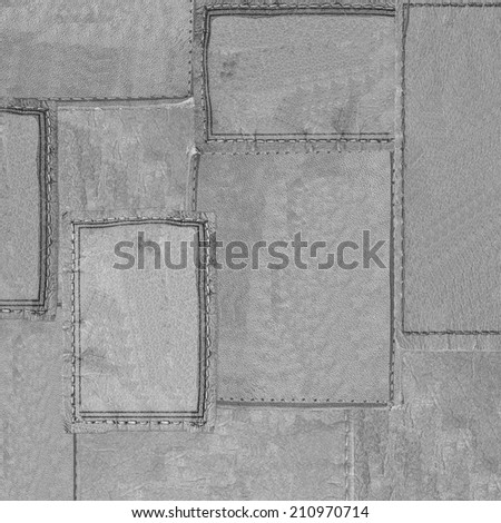 background of gray leather labels  - stock photo