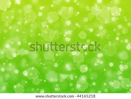 Background of green color with shamrock leaves