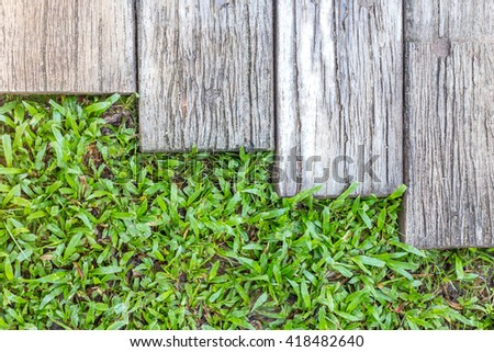 background of green grass soil and wood path - stock photo