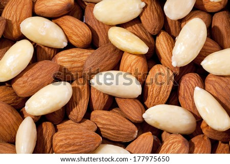 background  of group of brown and white almond closeup