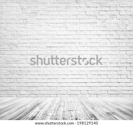 Background of grungy texture white brick and stone wall with light wooden gray floor, whiteboard inside old modern and contemporary empty interior Blank space of clean studio room