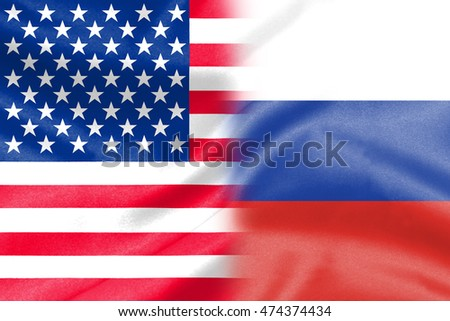 background of half america half russia flag