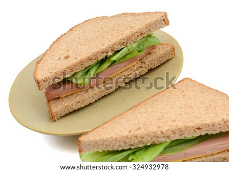 background of ham sandwich isolated on white