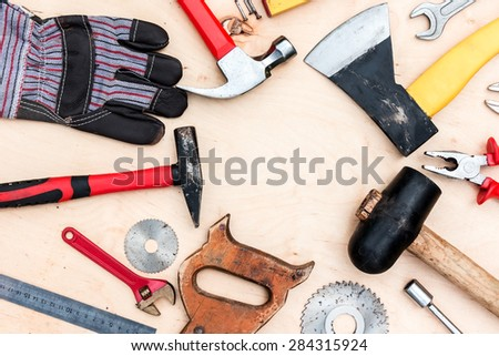 Background of handle tools set.