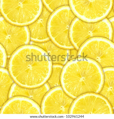 background of heap fresh yellow lemon slices. Seamless pattern for your design. Close-up. Studio photography. - stock photo