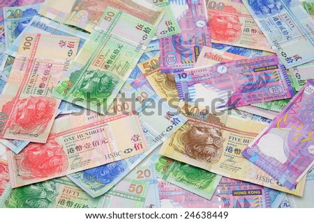 Background of Hong Kong currency banknotes - stock photo