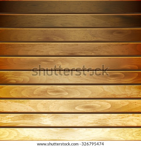 Background of horizontal wooden planks in gradient brown colors - stock photo