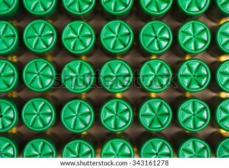 background of hunting cartridges for shotgun - stock photo