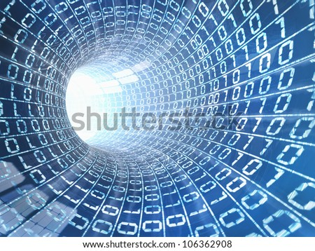 Background of internet byte in a cable - stock photo