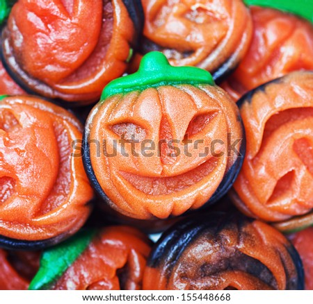 background of jelly candy in the shape of a pumpkin Halloween - stock photo
