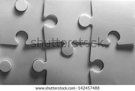 Background of jigsaw puzzle. In B/W - stock photo