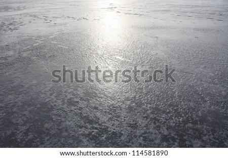 Background of lake icy - stock photo