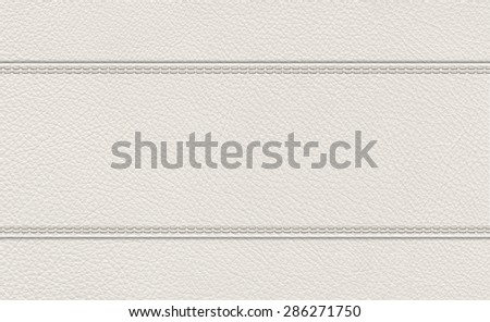 background of light gray stitched leather texture. - stock photo