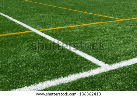 background of lines on football turf - stock photo