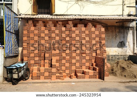 Background of lots of neatly arranged building brick - stock photo