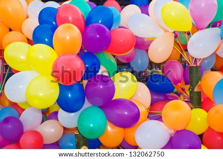 Background of many colorful balloons. - stock photo