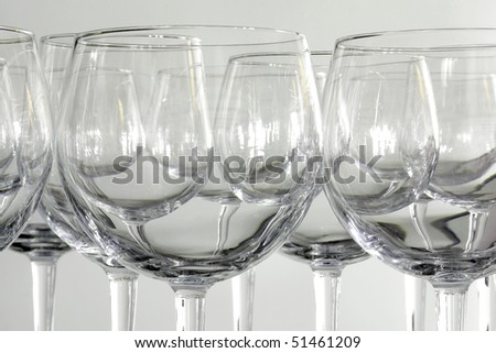 Background of many empty drinking glasses