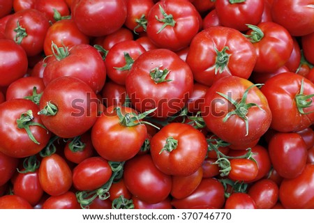 Background of many of juicy ripe red tomatoes