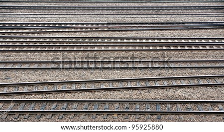 Background of many parallel railroad tracks - stock photo