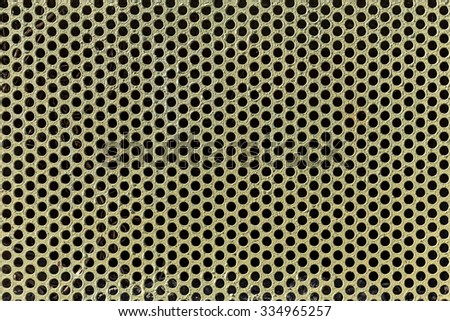 Background of metal with perforated holes