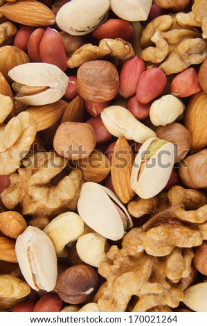Background of mixed nuts - stock photo