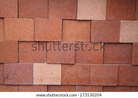 Background of modern red brick wall pattern texture - stock photo