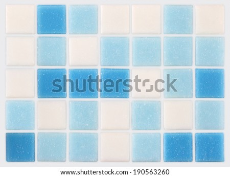 background of mosaic blue and white tiles - stock photo