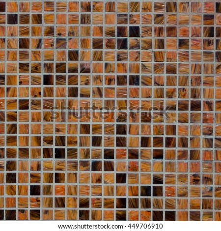 Background of mosaic wall in brown natural colors, square crop