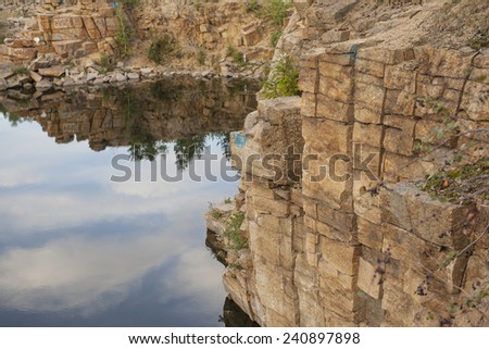Background of Mountain river or lake with blue clean water and stones at  mountains  at the summer time season . Blue Hall lagune area nature backdrop Empty space No people  - stock photo