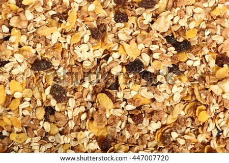 Background of muesli with dried fruits. Directly Above.