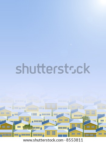 Background of multiple houses, spring time. - stock photo