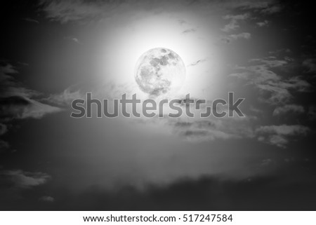 Background of nighttime sky with cloud and full moon with shiny. Natural beauty at night with moon behind cloud in black and white style. Vintage effect tone. The moon were NOT furnished by NASA.