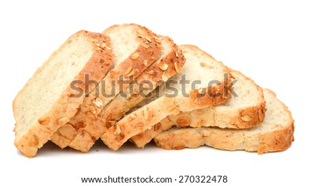 background of oat bread slices isolated on white  - stock photo