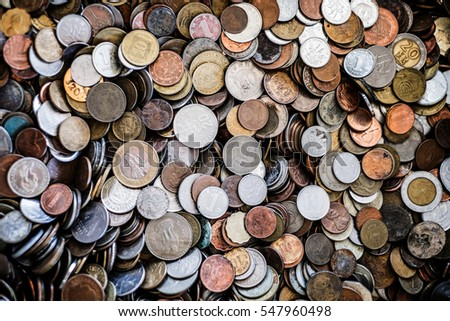 Background of old coins