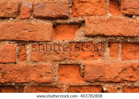 Background of old red brick wall texture