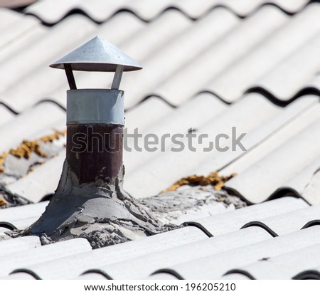 background of old slate roof - stock photo