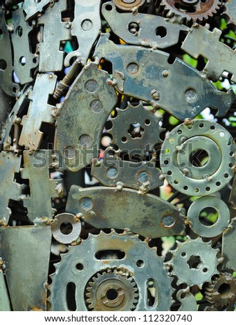 background of old used machine parts