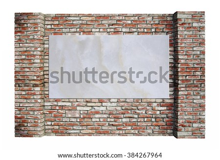 Background of old vintage brick wall and a marble slab for ads