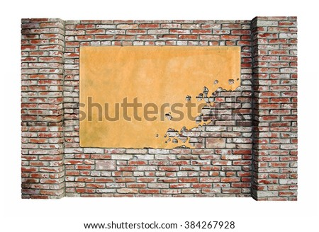 Background of old vintage brick wall and texture of old paper ads, advertising poster
