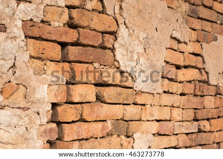 Background of old vintage brick wall with cement