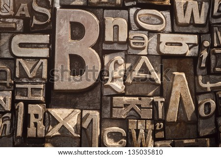 Background of old vintage letterpress type letters - stock photo