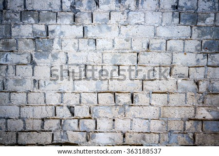 Background of old white brick wall texture