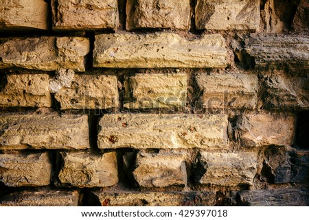 Background of old yellow brick wall texture, abstract horizontal architecture wallpaper